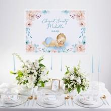 PLAKAT na Chrzest Chłopiec w Kwiatach Z IMIENIEM 50x70cm