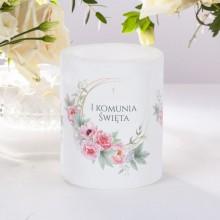 ŚWIECA/LAMPION zapachowa na Komunię Zapach Piwonii 12cm/10cm DUŻA