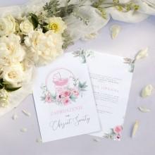 ZAPROSZENIE na Chrzest dwustronne Z IMIENIEM Kwiatowy Wózek róż