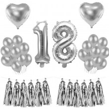ZESTAW balonów na 18 urodziny SREBRNY