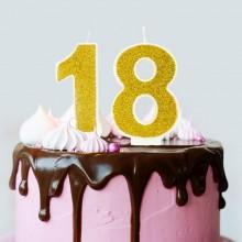 ŚWIECZKI urodzinowe na 18 brokatowe 7cm ZŁOTE