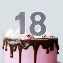 ŚWIECZKI urodzinowe na 18 brokatowe 7cm SREBRNE