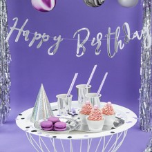 BANER urodzinowy metaliczny Happy Birthday SREBRNY