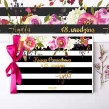 KSIĘGA Pamiątkowa na 18 Z IMIENIEM Flowers&Stripes (+wstążka c.róż)