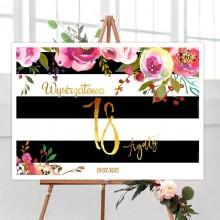 ŚCIANKA na 18 Z IMIENIEM 50x70cm Flowers&Stripes