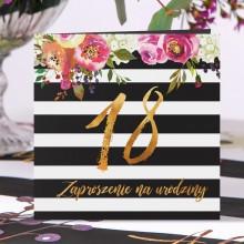 ZAPROSZENIA na 18 urodziny Flowers&Stripes 10szt (+koperty) OSTATNIA PACZKA