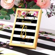 DEKORACJA stołu na 18 tabliczka Flowers&Stripes (+złota ramka)
