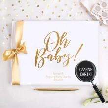 PAMIĘTNIK Przyszłej Mamy Oh Baby! Baby Shower Z IMIENIEM (+złota wstążka) CZARNE KARTKI