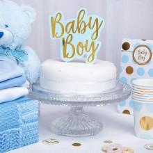 TOPPER na tort na Baby Shower BABY BOY NIEBIESKI