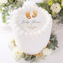 OPŁATEK na tort personalizowany Baby Shower Złote Stópki Ø20cm