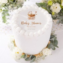 OPŁATEK na tort personalizowany Baby Shower Złoty Wózeczek Ø20cm