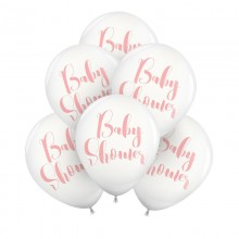 BALONY z napisem Baby Shower 30cm 6szt Różowe