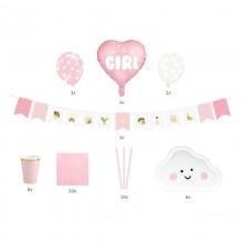 ZESTAW dekoracji na Baby Shower różowy Its a girl
