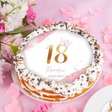 OPŁATEK na tort na 18 Z IMIENIEM Z Koroną PINK Ø20cm