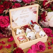 PREZENT na ślub dla Pary Młodej w skrzyni z przegródkami Marsala&Gold