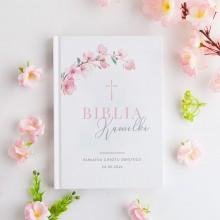 BIBLIA Pamiątka Chrztu Świętego Z IMIENIEM Różowa Chrzest DUŻA