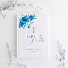 BIBLIA Pamiątka Chrztu Świętego Z IMIENIEM dla chłopca Niebieska DUŻA