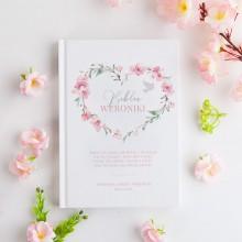BIBLIA Pamiątka Chrztu Świętego Z IMIENIEM Różowe Serce DUŻA