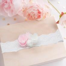 OPASKA na główkę na Chrzest Koronka Różowe i białe kwiaty