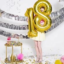 BALON foliowy na urodziny 35cm ZŁOTY Wybierz cyfrę