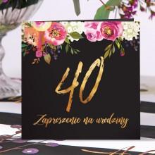 ZAPROSZENIA na 40 urodziny Boho eleganckie z kwiatami 10szt (+koperty)