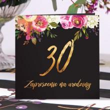 ZAPROSZENIA na 30 urodziny Boho eleganckie z kwiatami 10szt (+koperty)