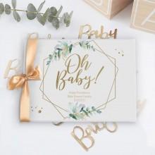 KSIĘGA pamiątkowa na Baby Shower Oh Baby Eukaliptus Z IMIENIEM (+złota wstążka)