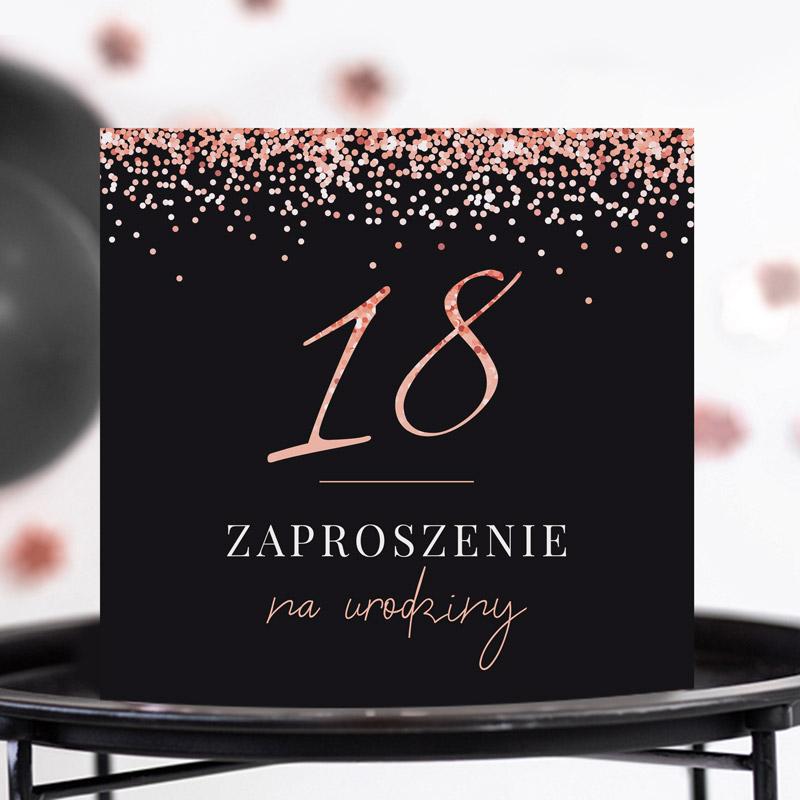 Zaproszenia na 18 rosegold black