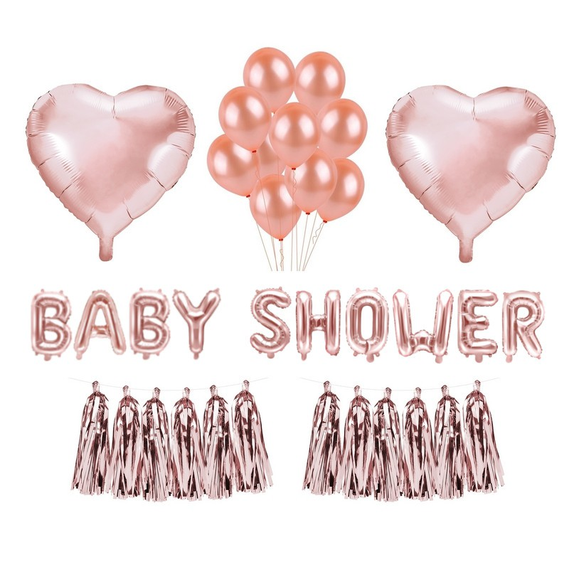 zestaw balonów na Baby Shower rose gold