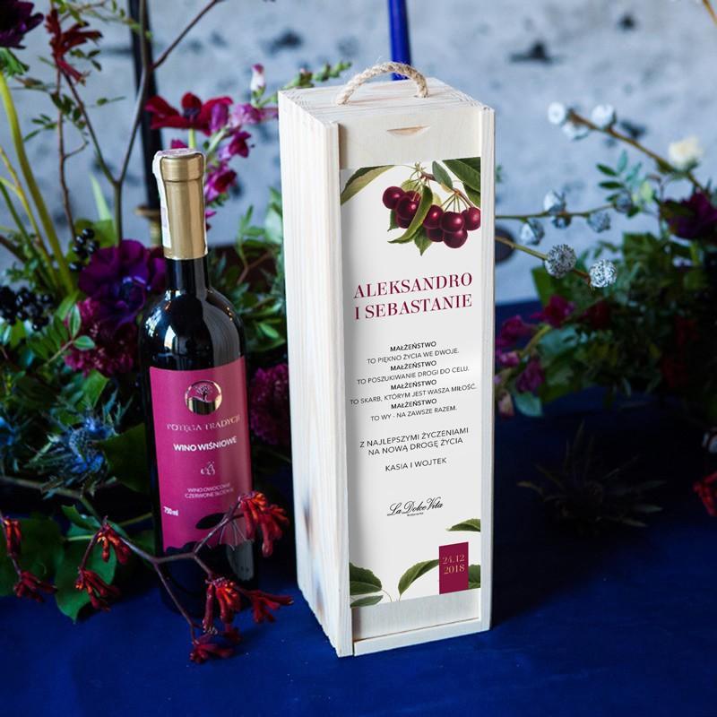 Prezent na ślub dla Pary Młodej wino w skrzyni