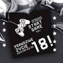 ZAPROSZENIA na 18 dla chłopaka Start Game 10szt (+koperty)