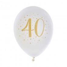 BALONY na 40 urodziny białe+złote 23cm 8szt