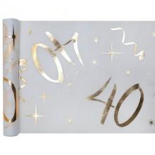 BIEŻNIK na 40 urodziny biały flizelina 30cmx5m BŁYSK