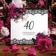 ZAPROSZENIA na 40 urodziny z koronką 10szt (+koperty)