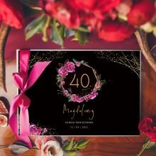 KSIĘGA PAMIĄTKOWA na 40 urodziny Z IMIENIEM Boho (+wstążka c.róż)