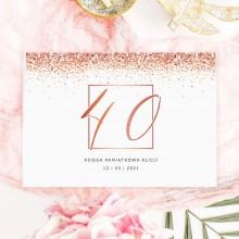 KSIĘGA PAMIĄTKOWA na 40 urodziny Z IMIENIEM Rosegold Confetti