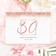 KSIĘGA PAMIĄTKOWA na 30 urodziny Z IMIENIEM Rosegold Confetti