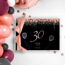 KSIĘGA PAMIĄTKOWA na 30 urodziny Z IMIENIEM Rosegold Black (+wstążka brzoskwinia)