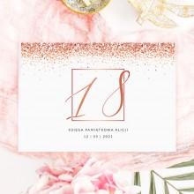 KSIĘGA PAMIĄTKOWA na 18 urodziny Z IMIENIEM Rosegold Confetti