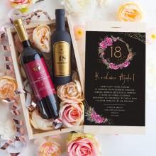 PREZENT na 18 urodziny Wino+zestaw w skrzyni Luxury Boho
