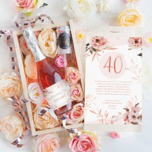 PREZENT na 40 urodziny Wino musujące w kwiatach Luxury 750ml