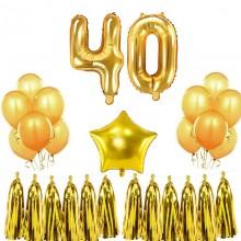 BALONY na 40 urodziny ZŁOTE gotowy MEGA ZESTAW