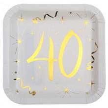 TALERZYKI na 40 urodziny białe+złote gwiazdki 10szt BŁYSK