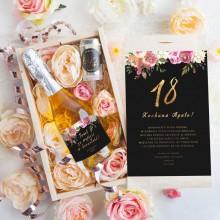 PREZENT na 18 Wino musujące w kwiatach Luxury Boho Eleganckie 750ml ZŁOTY