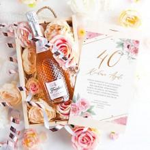 PREZENT na 40 urodziny Wino musujące Kryształowe LUX w skrzyni Z Imieniem