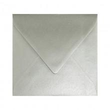 KOPERTY kwadratowe do zaproszeń metaliczne 10szt SREBRNE