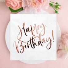 SERWETKI na 18, 30 i 40 urodziny Happy Birthday ROSEGOLD 33x33cm 20szt
