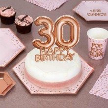 TOPPER na tort na 30 urodziny GLAMOUR Rosegold