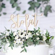 TOPPER na tort urodzinowy Sto Lat DREWNIANY