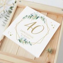 ZAPROSZENIA na 40 urodziny botaniczne Gałązka Eukaliptusa 10szt (+koperty)